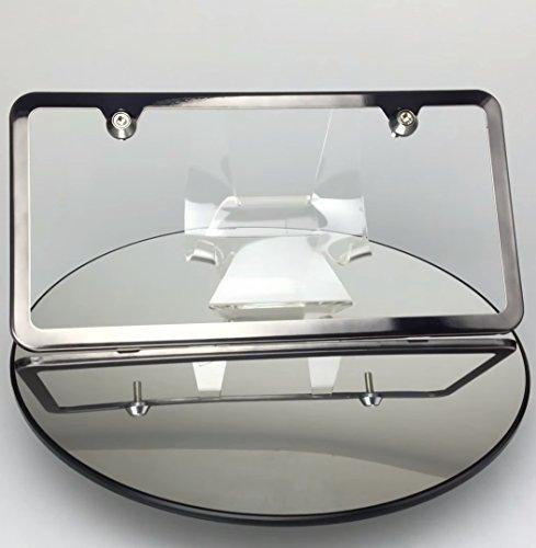 Black Chrome 2 Holes Slim Powder Coated 100% Stainless Steel License Plate Frame Holder Tag Ka Legend w/ Aluminum Screw Cap