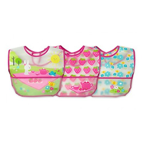 Green Sprouts Wipe-Off Bibs, Pink Picnic 3 Piece Set