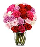 Flowers - 2 Dozen Roses in Red, Pink, Purple & White (Free Vase Included)