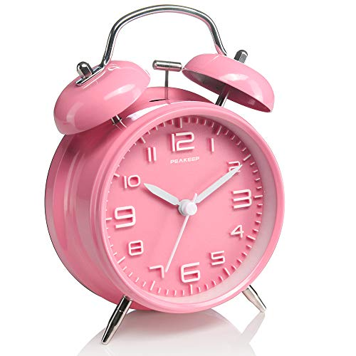 Pink Alarm - Peakeep 4 inches Twin Bell Pink Alarm Clock, Battery Operated, Loud (Pink)