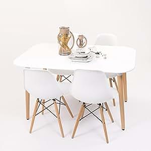 Conjunto de comedor de dise o n rdico nordik max con mesa for Mesas de comedor amazon