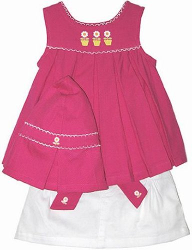 BT Kids Little Girls 2pc Flower Pot Scooter Skirt Set with Hat ~ Size 4