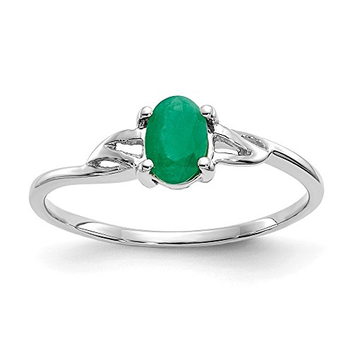 10k White Gold 0.50CT Geniune Emerald Engagement Ring Size (Emerald Gold Mens Bands)