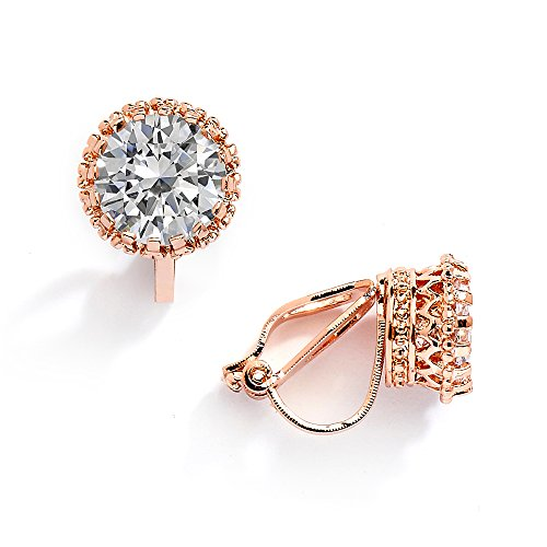 Mariell 14K Rose Gold Plated Crown Setting Clip-On Cubic Zirconia Stud Earrings - 2 Ct. Round Solitaire ()