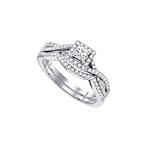 14kt White Gold Womens Princess Diamond Twist Bridal Wedding Engagement Ring Band Set 5/8 Cttw