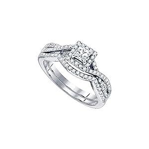 14kt White Gold Womens Princess Diamond Twist Bridal Wedding Engagement Ring Band Set 5/8 Cttw