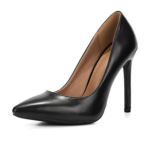 - LIURUIJIA Womens Stiletto Pumps Pointed Toe High Heel Slip On Wedding Party Office Shoes Black Matte pu-46 (280/US11.5)