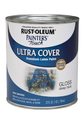 Rust-Oleum 224428 Painters Touch Quart Latex, Gloss Deep Blue