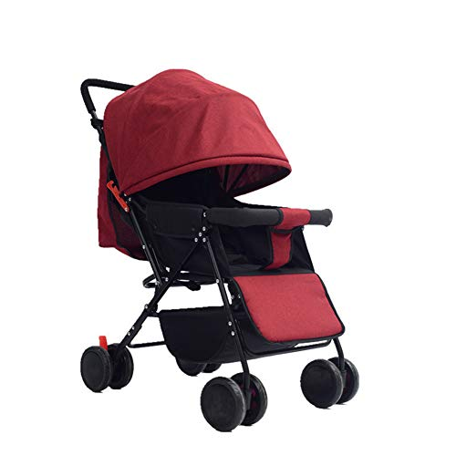 Lightweight Stroller Can Sit Reclining Portable 175 Degree Folding Umbrella Trolley Baby Car Fabric Removable Washable,Red