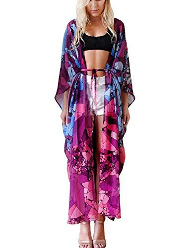 (Women Beach Cover Ups Cardigan Blouse Long Bikini Kimono Wraps Chiffon (236))