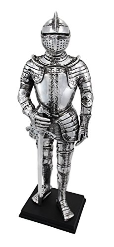 (Veronese Silver Finish Medieval Knight In Armor Statue Figure Armour)