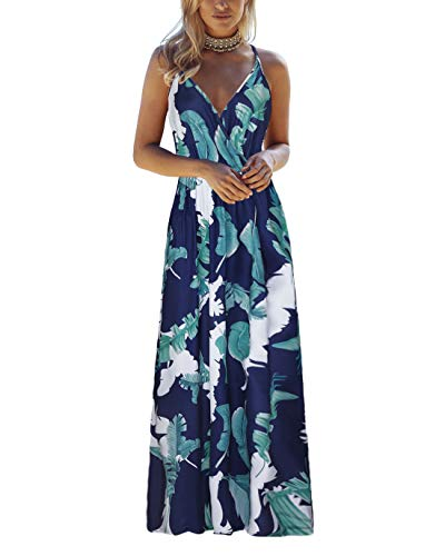 OUGES Womens Summer Deep V Neck Floral Adjustable Spaghetti Strap Beach Maxi Dress(Floral02,S)