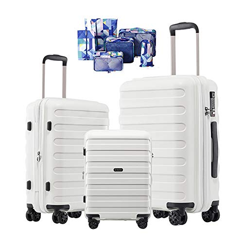 GinzaTravel PP Material Luggage 3 Piece Sets Lightweight Spinner Suitcase Luggage Expandable(all 20 24 -