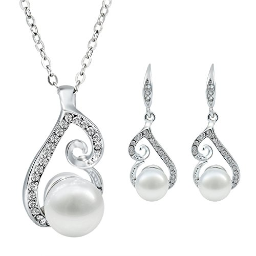 Morenitor(TM) Jewelry Set Gold Plated Pearl Pendant Necklace Dangle Earring Stud Set.