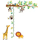 kids bedroom sticker wall murals Decowall DW-1402 Little Monkeys Tree and Animals Height Chart Kids Wall Decals Wall Stickers Peel and Stick Removable Wall Stickers for Kids Nursery Bedroom Living Room
