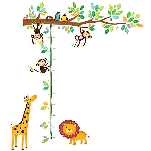 Decowall DW-1402 Little Monkeys Tree and Animals Height Chart Kids Wall Decals Wall Stickers Peel and Stick Removable Wall Stickers for Kids Nursery Bedroom Living Room (Safari Growth Chart)