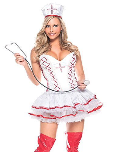 Summitfashions 3 Piece Plus Size Sexy Nurse Costume with White and Red Bustier Dress Sizes: 1X-2X ()