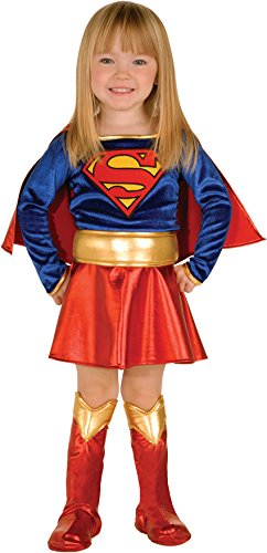 Girls Red And Gold Super Boots (Childs Girls Super Girl Super Hero Toddler Costume Set 12-18m)