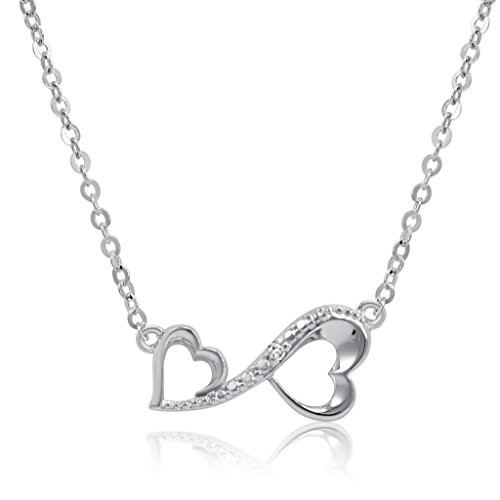 [Sterling Silver Diamond Accent Infinity Heart Necklace 17 1/2 inch] (Symbol Diamond Necklace)