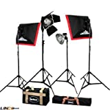 Britek#F200 Professional Photography Studio Small Business Kit (800w, 24''x24'' Softbox) with 4 Fluorescent Light Holder+2 Softbox for+4 Fluorescent