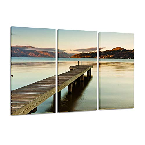 Wrapped Canvas Wall Art Paintings: Artwork The Wooden Bridge Under Dramatic Prints &Posters for Decor, 3 Panels (26