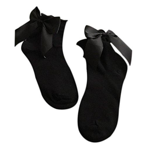Sagton Dames Harajuku Street Style Sokken Katoenen Enkellange Sokken Crew Sokken Met Strik Zwart + Zwart