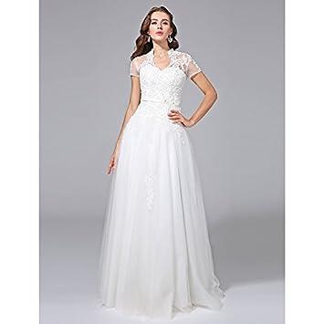 kekafu Una línea V-cuello Longitud Piso de tul vestido de novia con apliques de