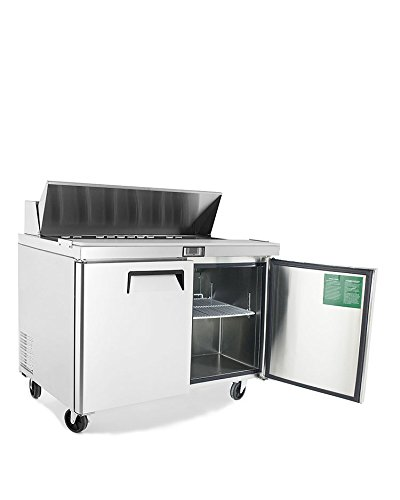 Salad Sandwich Prep Table Refrigerator,ATOSA Medium Commercial Double 2 door Stainless Steel Salad Sandwich Prep Table Refrigerator MSF8302GR for Restaurant Kitchen 12 Cu.Ft.48W30D43.7H inch 33℉-38℉