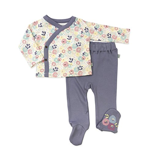 Finn + Emma Organic Cotton Kimono Shirt and Footed Pants Set for Baby Boy or Girl - Wildflowers/Stonewash, 0-3 Months
