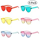 One Piece Rimless Sunglasses Transparent Candy Color Eyewear (6-pack)