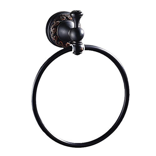 Leyden Black Brass Antique Bathroom Accessories Towel Ring Towel Stand Towel Organizer Towel Holder Towel Hanger, Oil Rubbed Bronze -