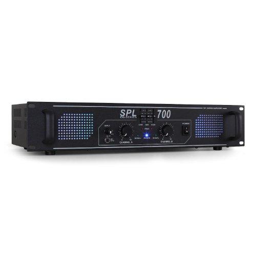 Skytec SPL700 Hifi DJ PA Verstärker 2000 Watt Endstufe Equalizer mit blauen LED Lichteffekt (3 Band EQ, 3x Cinch 3,5mm Klinke) schwarz
