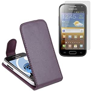 Cerhinu iTALKonline Samsung i8160 Galaxy Ace 2 PU Leather PURPLE Executive Flip Wallet Book Case Cover and LCD Screen...