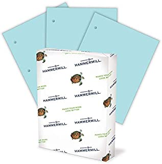 product image for Hammermill Colored Paper, 20 lb Blue Printer Paper, 3 Hole - 1 Ream (500 Sheets) - Made in the USA, Pastel Paper