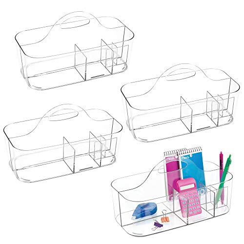 mDesign Portable Plastic Office Storage Organizer Caddy Container with Handle for Cabinet, Countertop, Desk, Workspace - Holds Erasable Pens, Colored Pencils, Washi Tape, Notebook, 4 Pack - Clear