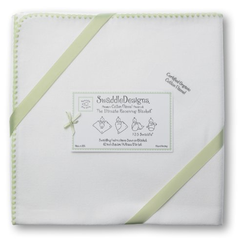 SwaddleDesigns Organic Ultimate Receiving Blanket, Ivory with Color Trim, Kiwi by SwaddleDesigns