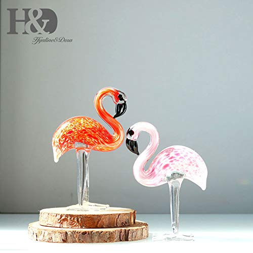 (ZAMTAC H&D Glass Ornament Sculpture - Art Glass Hand Blown Glass Animal Figurine Home Decoration 2PCS Flamingos (red and Pink))