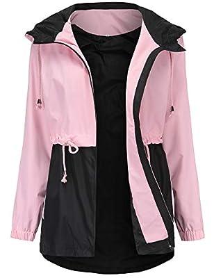 Romanstii Women's Anorak Jacket Coats Mountain Waterproof Ski Rain Jacket Outdoor Windbreaker