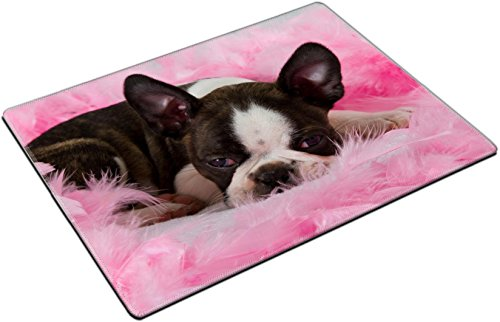 (MSD Place Mat Non-Slip Natural Rubber Desk Pads design 19451271 Boston terrier puppy sleep among pink feathers tired)