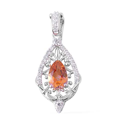 925 Sterling Silver Twilight Coated Topaz White Zircon Pendant for Women Jewelry Gift Cttw 1.6