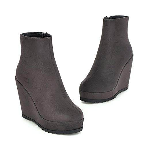 High Ankle Autumn Boots Wedge Zip Platform up Winter Heel Grey Vitalo Womens Boots 4wqgO4X