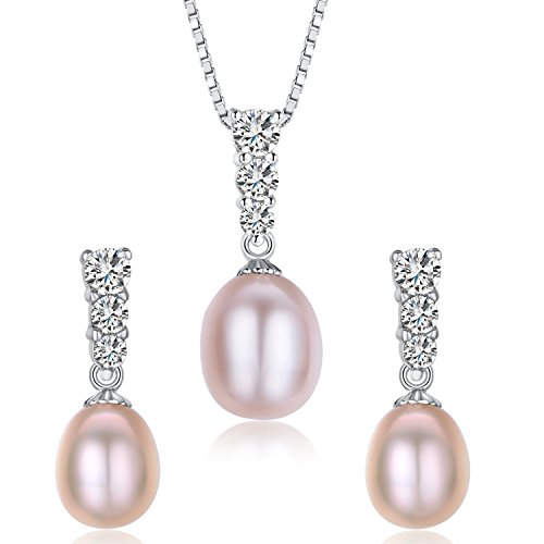 Water Drop Pearl Stud Earrings & Silver Chain Pendant Set| Impeccable Quality Natural, Flawless Freshwater Pearl & 925 Sterling Silver| The Most Unique Fashion Jewelry Set (2 | Pink Pearls)