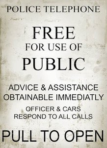 Moonlizard Police Telephone Box Assistance Metal Sign