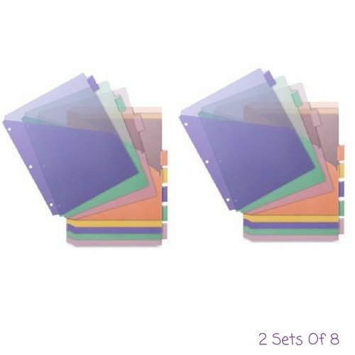 Poly Index Dividers, Double Pocket, 8-Tab, 8-1/2''x11'', Multi, Sold as 2 Set