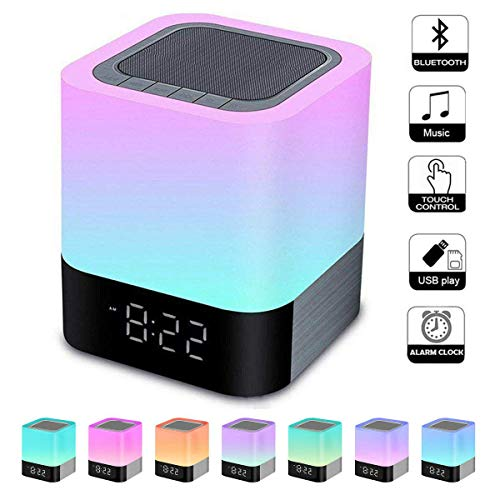 Foreita Night Light Bluetooth Speaker, Touch Control Bedside Lamp, Dimmable Warm Light Lamp, Alarm Clock & 4000mAh Battery Support MP3, USB, AUX Best Gifts for Kids Bedroom.