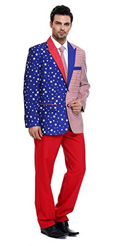 YOU LOOK UGLY TODAY Men's Festival US Flag Solid Color Bachelor Party Suit-Medium (Halloween Save Us)