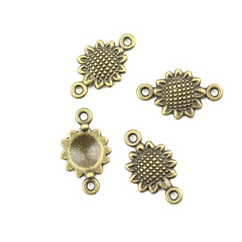 (Qty 20 Pieces Jewelry Making Charms Findings Supplies Repair Craft Antique Bronze CT1687 Sunflower Connector)