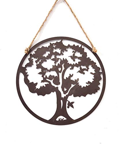 Gift Craft Tree & Hummingbird Rustic Brown 12 Inch Metal Cut-Out Hanging Wall ()