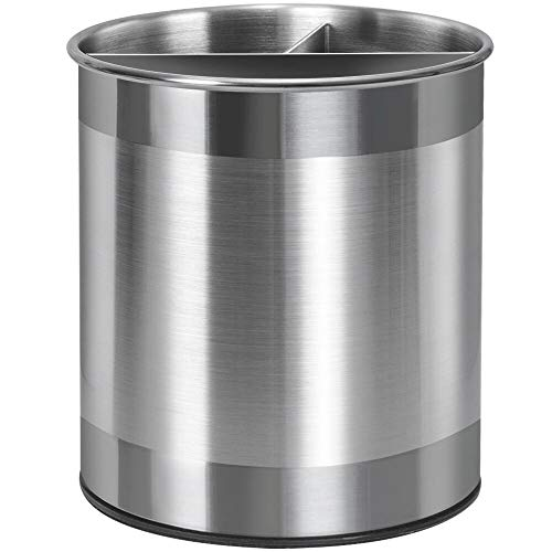 Nieifi Stainless Steel Utensil Holder with Removable Divider, 360° Rotating Countertop Utensil Caddy Organizer with…