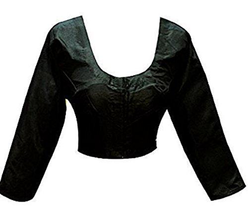 (Plain Raw Silk Ready-made Blouse Ideal Best Match for Saree Sari Lehenga Choli Crop Top by ETHNIC EMPORIUM (XXL, Black))